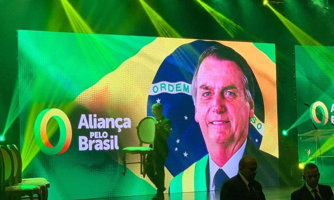 Evento de lançamento do partido Aliança pelo Brasil, idealizado pelo presidente Jair Bolsonaro Foto: Reprodução/Twitter